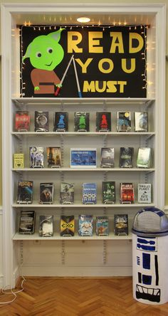 Discover new worlds with Messing Library's Science Fiction genre! Library Decorations, Library Themes, Library Design, Library Ideas, Library Books, School Library Displays, Middle School Libraries, Display Case, Display Ideas