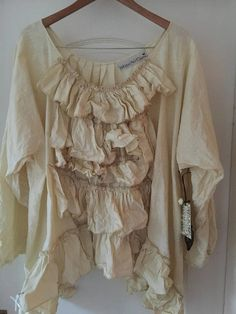 5dab038b6e Southern Gothic Couture OSFM RITANOTIARA Cream Linen Quirky prairie  Lagenlook Ruffle Frill Shirt Asymmetric Frilly ruffles top pirate gypsy
