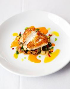 The pan-seared grouper with olive and basil ratatouille at Jimmy's Bistro in Delray Beach, Fla.