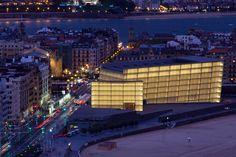 Kursaal Auditorium in San Sebastián, Spain. Photo taken by Pawel Paniczko. Basque Country, Cultural Center, Auditorium, Times Square, Spain, Cinema, Culture, Travel, Buildings