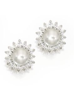 Pair of Platinum, 18 Karat White Gold, Cultured Pearl and Diamond Earclips, Trio | Lot | Sotheby's