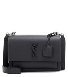 Medium Sunset Monogram black leather shoulder bag by Saint Laurent
