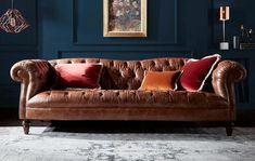 Inspired by the traditional Chesterfield, Palace adds a luxurious note to your interior with button detailing and wooden feet Leather Corner Sofa, Leather Reclining Sofa, Black Leather Sofas, Do It Yourself Sofa, Dfs Sofa, Lounge Decor, Living Room Grey