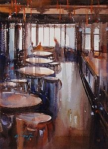 Tea House, Shanghai, China II by Keiko Tanabe Watercolor ~ 11 1/2 x 8 1/4 inches (29 x 21 cm)