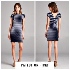 """DD - Short Sleeve Mini Dress - Navy Short sleeve mini dress with V crossed back. Horizontal navy and white stripes and high round neckline. Material is 95% polyester and 5% spandex. Measurements laying flat (Bust, Hip, Length) - Small: 15"""", 16"""", 33.5""""; Medium: 16"""", 17.5"""", 34.5""""; Large: 17"""", 18.5"""", 35.5"""". pm_editor pick. Vega Boutique Dresses"""