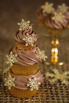 Beautiful Snowflakes Cupcake Tower