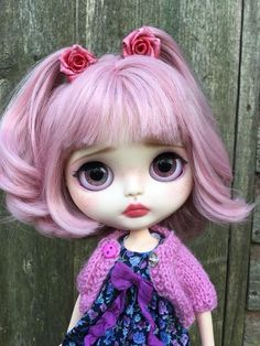 Blythe doll #digitalart Pretty Dolls, Cute Dolls, Beautiful Dolls, Barbie, Doll Face, Big Eyes, Pink Lace, Blythe Dolls, Bjd