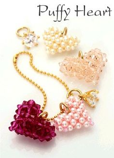 Swarovski Pearl and Crystal Puffy Heart Keychain Tutorial - Istructions - Pattern etsy.com Great craft project