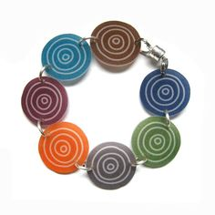 bracelet colorful modern circles shrinky by MarciMolinaDesigns Shrink Film, Shrink Art, Plastic Art, Shrink Plastic, Shrinky Dinks, Jewelry Crafts, Jewelry Art, Nail Polish Art, Friendly Plastic