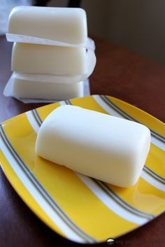 Homemade Lotion Bars  Use coconut and olive oil.