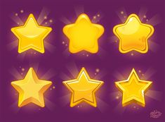 Stars for games on Behance Game Gui, Game Icon, Game Ui Design, Icon Design, Game Concept Art, Character Concept, 3d Character, Casual Art, Game Textures