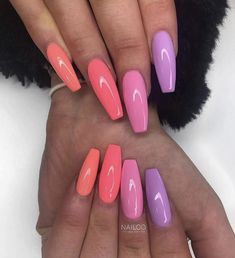 How beautiful are these! Emmie created this set using 'Coral T - Summer Acrylic Nails Acrylic Nails Coffin Short, Summer Acrylic Nails, Pastel Nails, Best Acrylic Nails, Purple Nails, Acrylic Nail Designs, Coffin Nails, Coral Acrylic Nails, Summer Nails