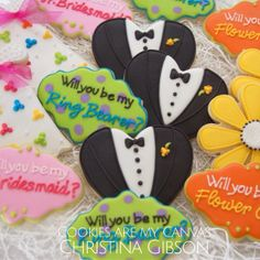 Wedding Engagement Cookies; ring bearer; flower girl; bridesmaid; will you be my bridesmaid cookie; tuxedo cookie; wedding favor; wedding dress cookie