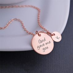 Available in rose gold, yellow gold and silver.  God Gave Me You Necklace, Personalized Mother's Day Jewelry Gift – georgie designs personalized jewelry