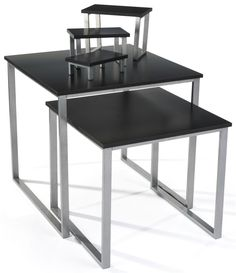 Set of 2 Nesting Tables for Floor with Set of 3 Tabletop Display Risers - Black
