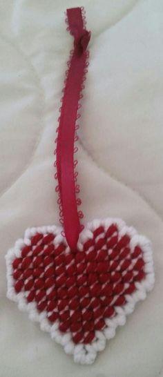 White/Dark Red Heart