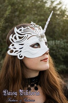 Silver Unicorn Mask with Silver Filigree by fqcouture on Etsy