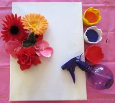 Learn with Play at Home: Flower Stencil Spray Painting
