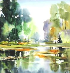 Watercolor Workshop with Maria Ginzburg, Sweden Watercolor Water, Watercolor Landscape Paintings, Watercolor Trees, Watercolor Artists, Watercolor Drawing, Abstract Watercolor, Watercolor And Ink, Landscape Art, Abstract Paintings