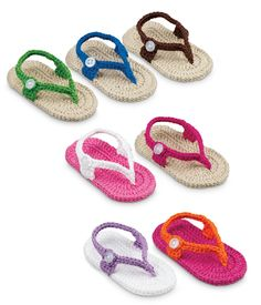Hand crocheted flip flops for your beach bound cuties! Dont forget sun screen!