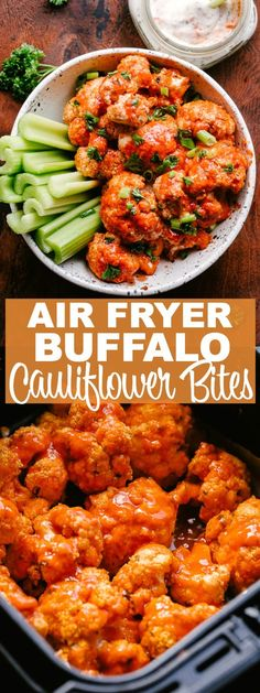 Air Fryer Buffalo Cauliflower Bites Easy healthy perfectly spicy Buffalo Cauliflower Bites prepared in the Air Fryer! Cauliflower stands as a delicious vegetarian alternative to chicken wings in this recipe for spicy Air Fryer Buffalo Cauliflower dinner Air Fryer Oven Recipes, Air Frier Recipes, Air Fryer Dinner Recipes, Healthy Dinner Recipes, Air Fryer Recipes Vegetarian, Air Fryer Recipes Cauliflower, Vegetarian Appetizers, Vegetarian Wings, Vegetarian Cauliflower Recipes