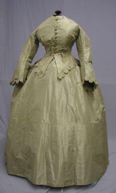 1185 Elegant 1860's 2 PC Gold Silk Ensemble   eBay
