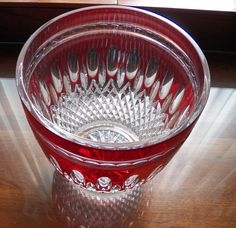 """Waterford Clarendon Ruby Red Ice Bucket 7 3/8"""" x 7""""  Excellent Condition #WaterfordCrystal"""