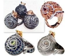 2012 AGTA awards - Alex Soldier Snail Rings