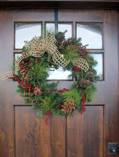 FREE SHIPPING Christmas Holiday Wreath  22 Inch PVC Pine Rustic Woven Jute Ribbon Wreath. $75.00, via Etsy.