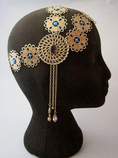 """Bijoux de tête / Coiffe / Headband / Diadème / Crown / """"Néfertiti"""" Style Victorien Romantique Antique Egypte Godess / Couleur Bleu"""