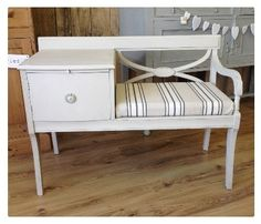 A beautiful vintage telephone seat with side table. It has been hand painted in Dolphin [W] and waxed for proection. Country Furniture, Distressed Furniture, Upcycled Furniture, Shabby Chic Furniture, Furniture Projects, Vintage Furniture, Painted Furniture, Vintage Telephone Table, Telephone Seat