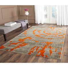 Safavieh Porcello Abstract Contemporary Light Grey/ Orange Rug (5'2 x 7'6)