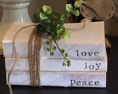 JanSavageDesigns on Etsy Crafts To Sell, Fun Crafts, Paper Crafts, Diy Paper, Christmas Love, Christmas Crafts, Farmhouse Books, Modern Farmhouse, Farmhouse Decor