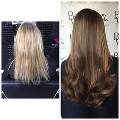 Colour change & @beauty_worksonline hair extensions fitted for a complete hair makeover! From blonde to bronde... From short to long ❤️ #thehairshop #thehairshopnorthwales #northwales #BeautyWorks #hairdesign #haircolour #hairextensions