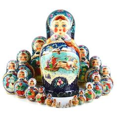 """""""20 Pc Russian Winter Nested Doll Item No. ND00376A20 $1,663.89 This outstanding nesting doll was hand-made well and expertly hand-painted with the tiniest of detail. The largest doll features a troika (three horse sleigh) and the smaller dolls show other snowy Winter fun scenes. The back of the doll is beautifully designed with a floral theme in blues and a cream color. Gloss finished, signed on the bottom (""""Russian Winter"""" Sergiev Posad Vasilyeva), and about 12 1/2"""" tall."""" Russian Landscape, Christmas Horses, Russian Winter, Valley Of The Dolls, Dark Blue Background, Matryoshka Doll, Floral Theme, Wooden Dolls, Winter Fun"""