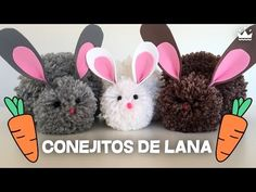 DIY Bunnies made with wool pompoms Pom Pom Crafts, Yarn Crafts, Ideas Para Fiestas, Kids Boxing, Diy Wreath, Diy For Kids, Easy Diy, Rabbit, Bunny