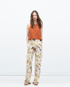 Image 1 of PRINTED WIDE-LEG TROUSERS from Zara