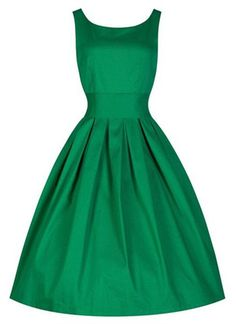 Vintage Scoop Collar Sleeveless Solid Color Women's Dress in Kelly Green