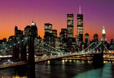 Manhattan Skyline - New York - Nyc Skyline, Manhattan Skyline, New York City Skyline, Manhattan New York, New York Wallpaper, Wallpaper Murals, Large Wall Murals, New York Night, Blog Voyage