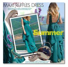 """""""Maxi Ruffles Dress"""" by svijetlana ❤ liked on Polyvore featuring maxidress and ruffles"""
