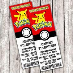 Pokemon Ticket Invitation Pokemon Birthday by LetsPrintAParty Pokemon Birthday Invites, Monster Birthday Invitations, Pokemon Party, Birthday Invitation Templates, Birthday Cards, 7th Birthday, Pokemon Invites, Birthday Ideas, Mermaid Invitations