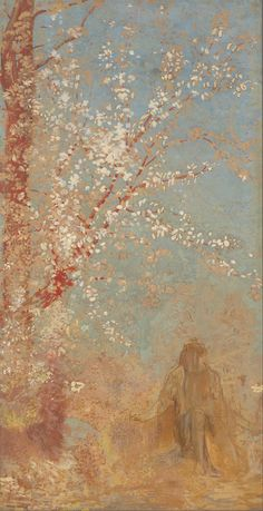 'Figure Under a Blossoming Tree' (1904 - 1905) painting by Odilon Redon (1840–1916).