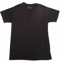 Mens Size L Solid Black Hanes V Neck Fitted T Shirt. $9.99