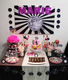Disco birthday party dessert table!  See more party planning ideas at CatchMyParty.com!