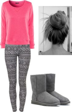 """Lazy day with One Direction ❤❤"" by mrs-stypayyhorklinson ❤ liked on Polyvore pink sweater grey uggs and leggings"