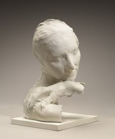 George Segal - (American, 1924-2000) -Wendy with Chin on Hand, 1982.  Bronze with white patina.