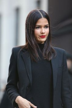 Winter Style Ideas. Winter Fashion and Winter Outfit Ideas. all black, red lip