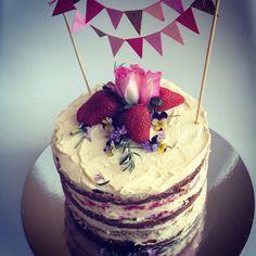 Victoria sponge, hazelnut meringue, mascarpone cream, mixed berries layer cake.