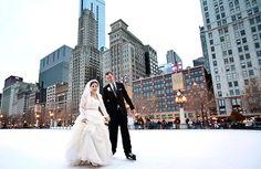 Wearing hockey skates with the wedding dress & tux... definitely yes.
