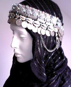 Beduin - heavy tribal bellydance headpiece, headdress. $90.00, via Etsy.